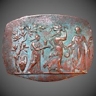 Ancient ROMAN 200 AD Carved Bronze Plaque 3 Graceful Women With Offerings DIVINE!