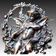 Antique Edwardian Pin Brooch PUTTI French Bronze Cupid Roses RARE!
