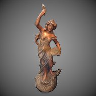 Antique Authentic French ART NOUVEAU Statue Sculpture  Bronzed Spelter Lady Sowing Money 19th C TO DIE FOR