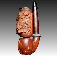 Antique Victorian BLACK FOREST Pipe Carved DEER Wood Carving Tobacciana RARE!