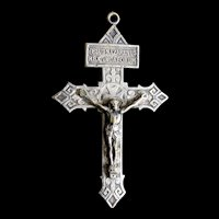 Antique EDWARDIAN Religious LARGE French CROSS Crucifix Pendant Silver Overlay Men Women Very ORNATE!