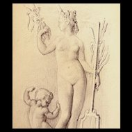Antique Petite FRENCH Edwardian NUDE Drawing VENUS And Cupid DIVINE!