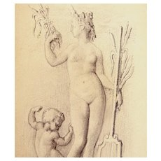 Antique FRENCH Edwardian NUDE Drawing VENUS And Cupid Small DIVINE!