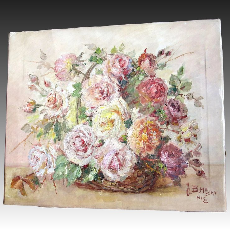 RESERVED Vintage 60s French FLORAL Painting Flowers Bouquet Roses ...