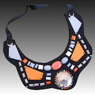 Vintage 70s FRENCH Necklace Hippie CHIC Men Women Orange on Black  Totally AWESOME!