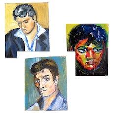 3 Vintage Portrait Paintings of ELVIS Presley Signed Dated POWERFUL!
