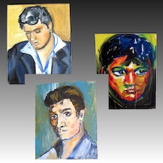 3 Vintage Portrait Paintings of ELVIS Presley Signed Dated POWERFUL!