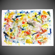 French ABSTRACT Painting Gouache Signed EXCELLENT!