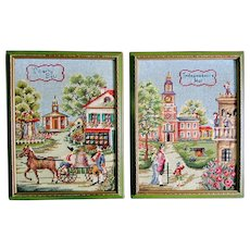 Pair Vintage 50s Tapestry Needlepoint Embroidery AMERICANA Framed Complete EXQUISITE!
