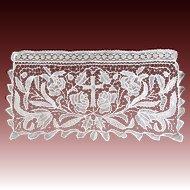 Antique Religious French Napoleon III Altar Lace Piece EXTRAORDINARY!