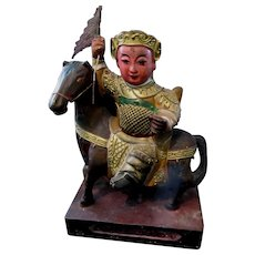 Antique Chinese Qing Figure Gilded Statue Carving Warrior With Flag Riding HORSE FANTASTIC!