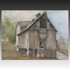 Vintage 80s Very LARGE Watercolor Painting Nostalgic BARN in Landscape POWERFUL!