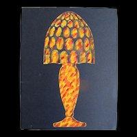 Vintage 20s French ART DECO Original Watercolor Painting Lamp Design WOW!
