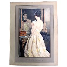 Antique French Edwardian Print LADY Mask Mirror Ball Dress EXQUISITE!