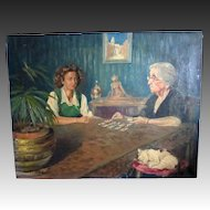 Vintage 40s WWII French Painting Psychic Reading N Rockwell Style Signed TOTALLY UNIQUE!