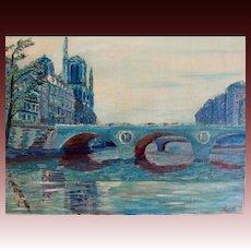Vintage French Painting PARIS Blue RIver Napoleon Bridge Notre Dame Signed ELEGANT And POETIC!