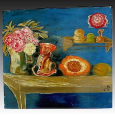 Vintage 80s French Oil Painting SURREALIST STILL LIFE Signed