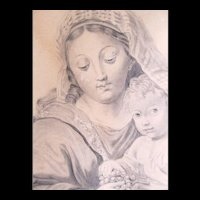 Antique Charcoal Drawing LARGE MADONNA And Child Eating Grapes 19th C Century Signed MAGNIFICENT!