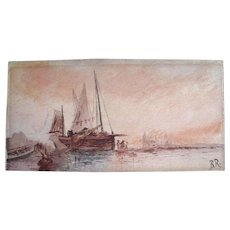 Antique SEASCAPE Marine Watercolor Painting Boats VENICE Harbor Signed ELEGANT and RARE! - Red Tag Sale Item