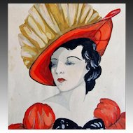 Vintage Art DECO 30s English Watercolor Painting Portrait LADY in Red Dated FANTASTIC!
