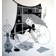 Vintage ERTE Art Deco Print Book Plate Lady Writing Love Letter 1 SIGNED Exquisite!