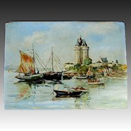 Vintage French Seascape Marine Oil Painting Boats Towers Brittany or Vendee Signed EXCELLENT!