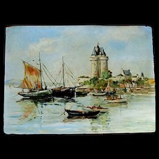 Vintage French Seascape Marine Painting St Malo BRITTANY Signed FABULOUS!