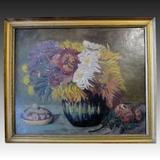 Antique EDWARDIAN Dutch oil Floral Painting Roses Peonies Flowers Signed SPECTACULAR!