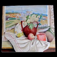 Vintage Country FRENCH Still Life Trompe L'Oeil Painting Southern Landscape Signed Totally AWESOME!