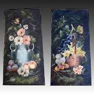 Pair EDWARDIAN Belgian Oil Paintings Still Life Flowers and Fruit Signed SPECTACULAR!