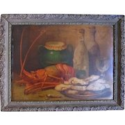 Antique French Chromo lithograph LOBSTER WIne Bottles Original Frame RARE!