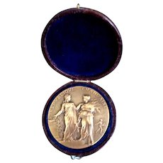 Antique Edwardian FRENCH Bronze Medal Beautiful LADIES Velvet BOX Signed LISTED!
