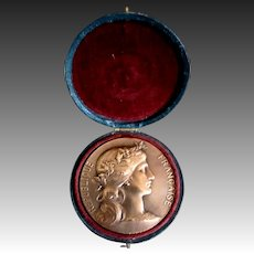 Antique FRENCH Art Nouveau BRONZE Medal Beautiful Lady Velvet Box STRIKING!