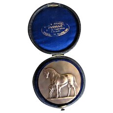Antique FRENCH Bronze Medal HORSES by Victor Peter Signed Round Box RARE!!