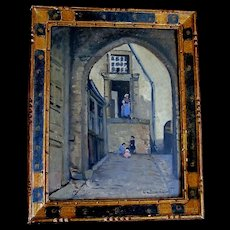 Vintage 30s FRENCH Painting Provincial Courtyard Servant Children SIGNED Oil STRONG PIECE!