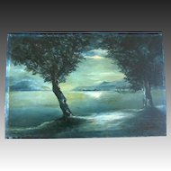 Antique 1890 FRENCH SYMBOLISM Painting Seascape at Moonlight Signed DIVINE!