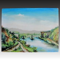 Vintage 50s French Painting Bridges Near Rouen Signed Oil STUNNING!
