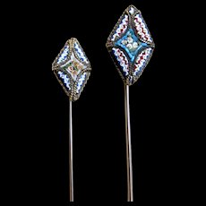 Pair vintage micromosaic micro mosaic stick pins Man Woman Super CHARMING!