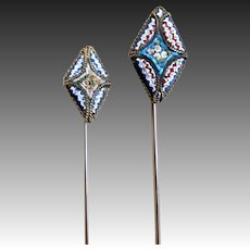 Pair vintage 50s micromosaic micro mosaic stick pins Man Woman Very CHARMING!