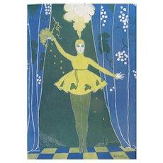 1916 Art Deco Print Singer by Georges K BENDA Dated FANTASTIC!