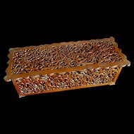 Antique 19th C Black Forest French Box Ornate Wood Carving Like Lace  DIVINE!