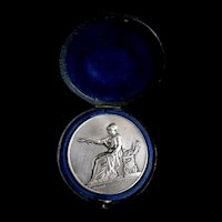 Antique French SILVER Medal Minerva Athena in Box Signed LISTED!