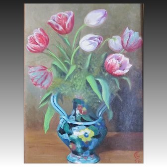 Vintage 50s French FLORAL Painting Tulips Flowers SIGNED Dated STRONG PIECE!