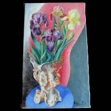 Vintage 50s French Floral Oil Painting Flowers Irises Signed DIVINE!