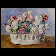 Antique 19th C Belgian FLORAL Watercolor Painting Dahlias Flowers DIVINE!