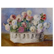 Antique 19th C Belgian FLORAL Watercolor Painting Dahlias Flowers DIVINE!