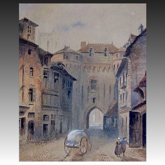 Antique 19th C FRENCH Watercolor Painting BRITTANY Street Cart Breton Couple EXQUISITE!