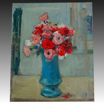 Vintage 30s FRENCH Floral Painting Bouquet Flowers ROSES DIVINE!