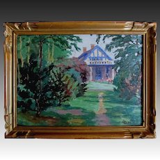 Vintage 30s Landscape Painting Normandy House Among Foliage Framed COUNTRY FRENCH CHARM!