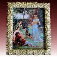 Antique French ART NOUVEAU Jugendstil AUTHENTIC 19th C Painting Signed DIVINE!